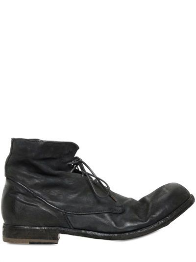 $621, Black Leather Boots: Officine Creative Washed Leather Lace Up Boots. Sold by LUISAVIAROMA. Click for more info: http://lookastic.com/men/shop_items/153407/redirect