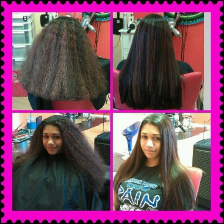 Brazillian blowout smoothing treatment  before and after pics (Facebook @keisha at island sanctuary)