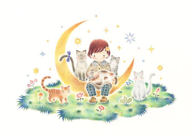 """""""Ruri and Cat's on Horned Moon"""" −RiLi, picture book, illustration, design ___ """"月の上のルリと猫"""" −リリ, 絵本, イラスト, デザイン ...... #illustration #moon #イラスト #月"""
