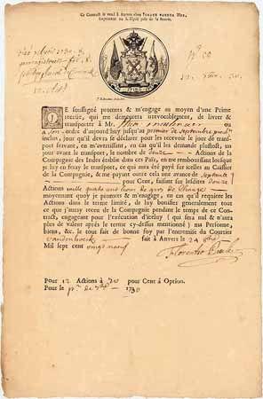 Keyserlich Indische Compagnie (französische Version) Option für 12 Aktien à 700 fl. 1729 (französische Version).