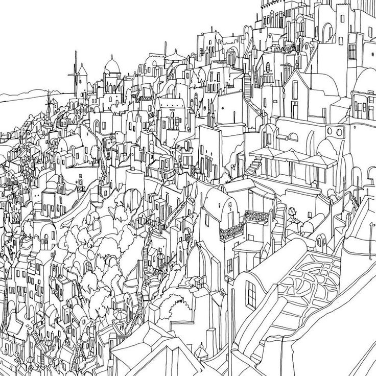 Highly Detailed Colouring Book for Adults Features Famous World Cities: Santorini, Greece.