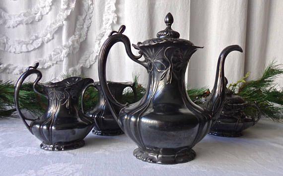 Antique Victorian Tea Set Silver Plate Teapot Creamer Sugar