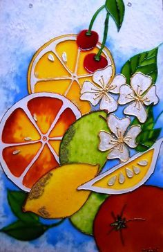 Orange lemon lime plexiglass Stainglass painting by DanouArt