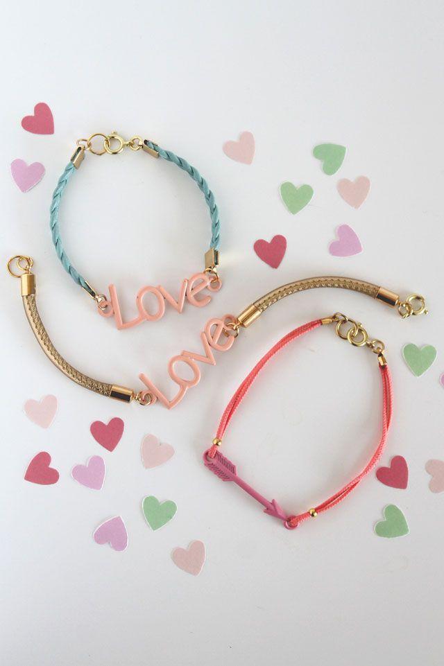 DIY: leather love charm bracelets