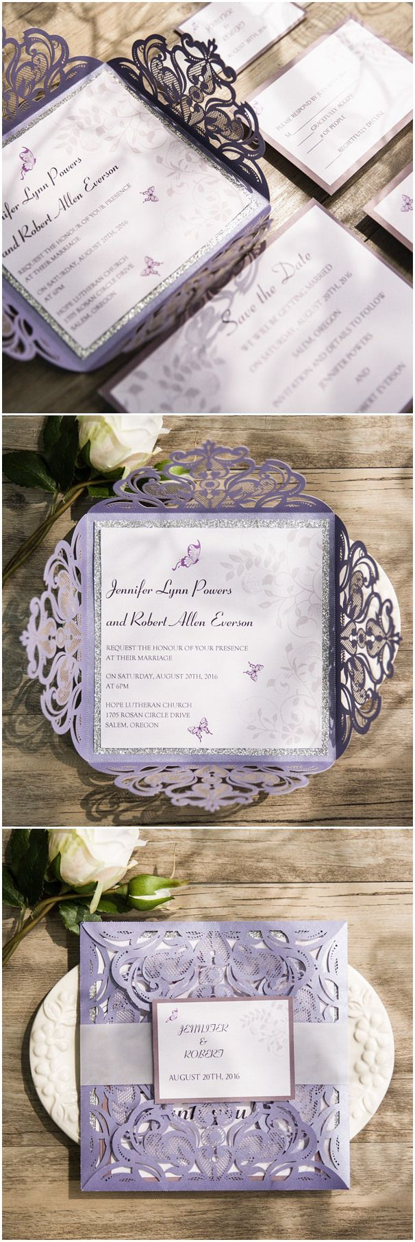 romantic butterfly themed lavender laser cut wedding