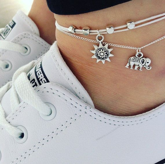 Beaded anklet - Silver charm anklet on adjustable white or black cord - turtle, buddha, moon, lucky elephant, Lotus, Sunflower, Sun