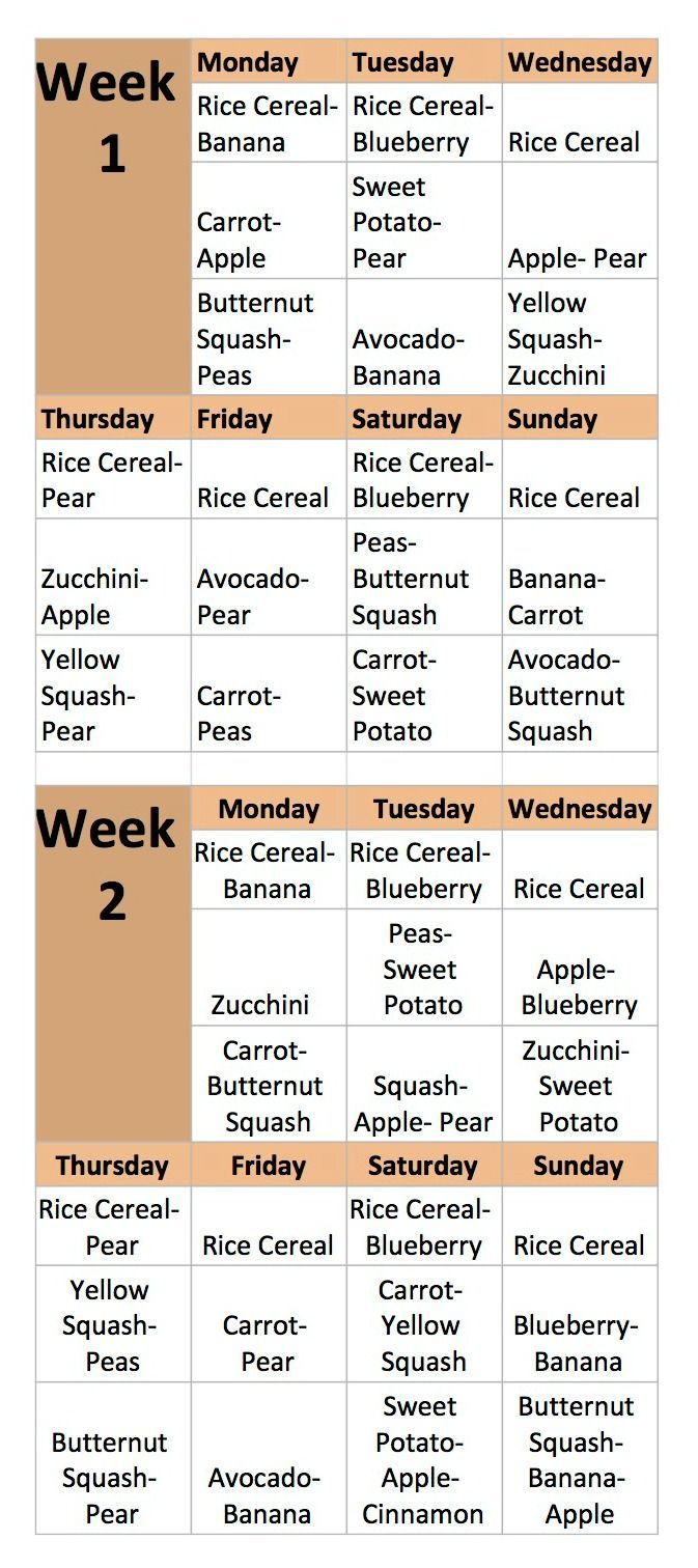 Two Week Menu for Homemade Baby Food Recipes