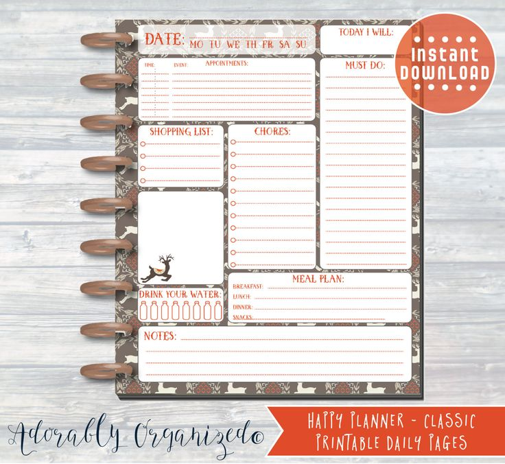 HAPPY PLANNER PRINTABLE Daily Planner Refills / Inserts - 7 x 9.25 | Rustic Christmas | Create 365 | Me & My Big Ideas | mambi | Daily by AdorablyOrganized on Etsy
