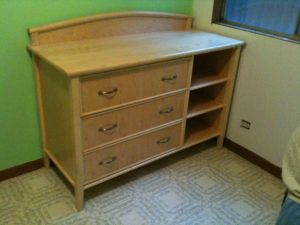 Natural Wood Changing Table Dresser