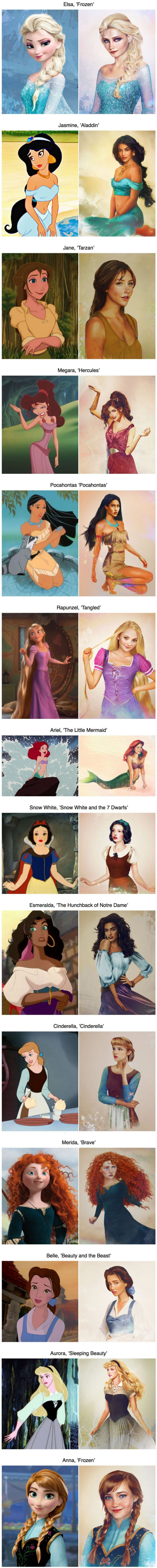 What the real Disney princesses looked like (By Jirka Väätäinen) Jane, Esmeralda, Anna, Belle look so pretty?!!??