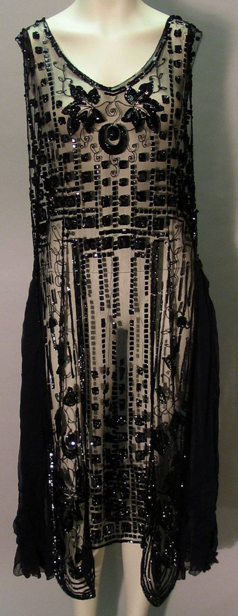 Sheer black beaded Art Deco flapper dress    1920s. @designerwallace