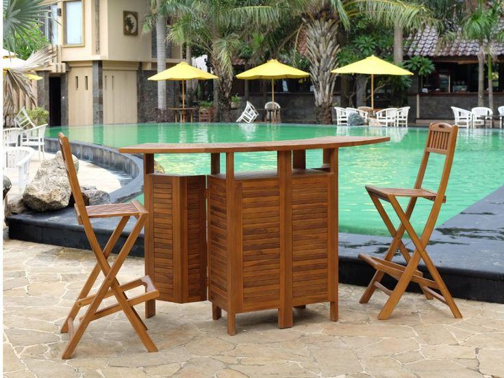 bar de jardin et 2 chaises de bar akuda teck naturel. Black Bedroom Furniture Sets. Home Design Ideas