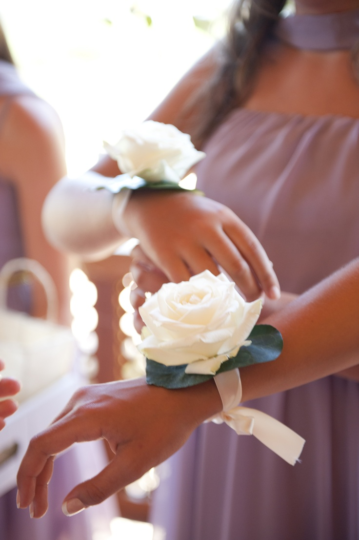 White rose wrist corsage- a lovely alternative to the Bridesmaid's bouquet