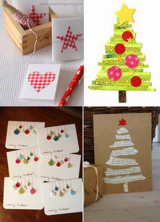 Cuatro ideas para que personalicéis vuestras felicitaciones de Navidad  Me han parecido ideas sencillas y alguna muy eco.   Tela o papel...