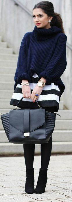 Navy and striped skirt