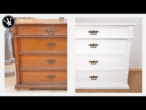 Tutorial - alte Möbel/Kommode aus Eiche streichen I Shabby Chic I Kreidefarbe I Chalk Paint I How to - YouTube