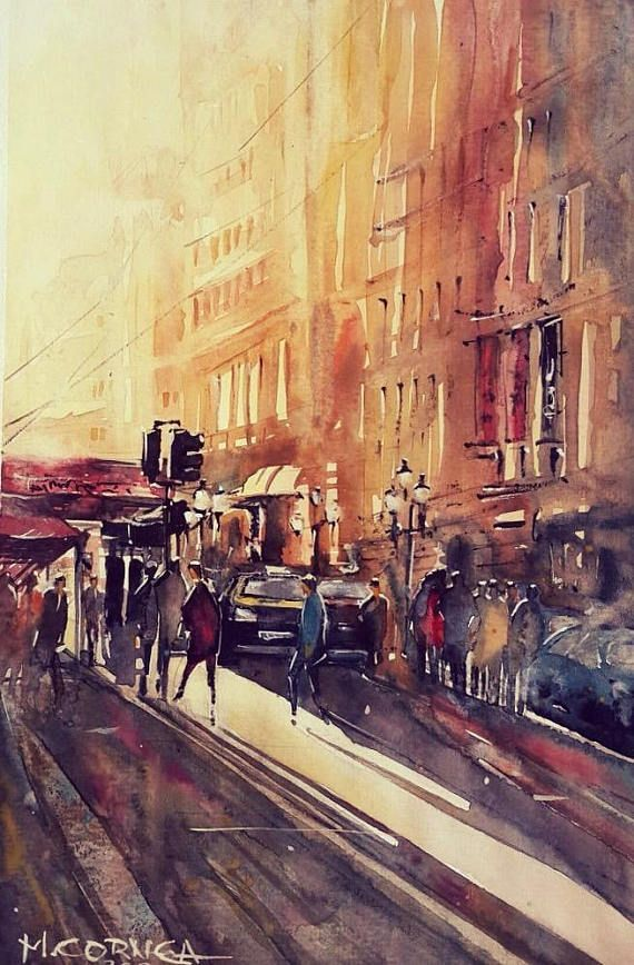 Sunrise urban original watercolor painting 21*29 cm  200gr cold press good quality watercolor paper The color will not fade over time  2017 original work. This Artwork is hand signed and dated. The artwork is not on sale with the frame