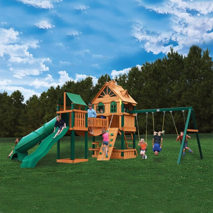 23 best church upper playroom images on pinterest for Wooden swing set with bridge
