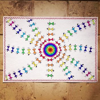 Colourful hand painted Warli art on handmade paper (without frame).   Available on http://www.mirraw.com/designers/maddies-fingers-the-arty-ones/designs/hand-painted-warli-art-on-handmade-paper-without-frame-painting