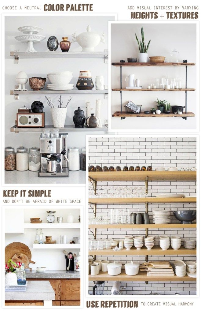 tips for styling open kitchen shelving