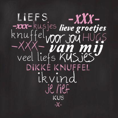 """Een leuke """"schoolbord"""" kaart met lieve teksten om een speciaal iemand heel blij mee te maken! Te vinden op: https://www.kaartje2go.nl/valentijnskaarten"""