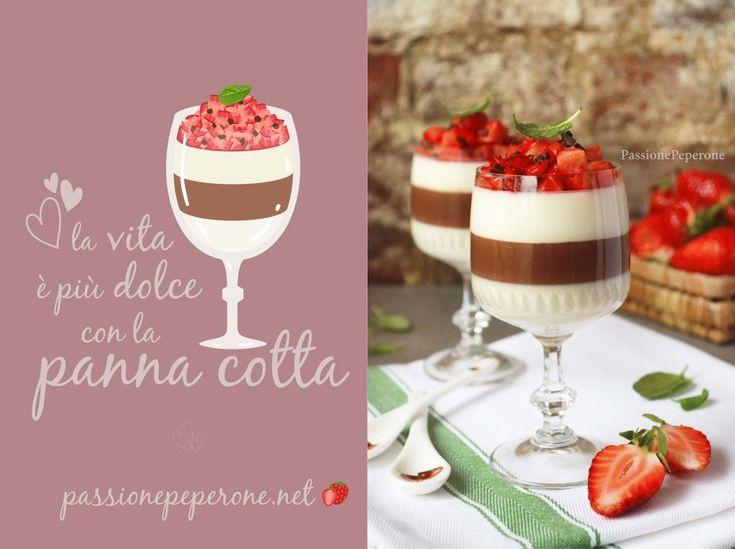 Panna cotta al gusto di vaniglia e cioccolato con fragole e menta