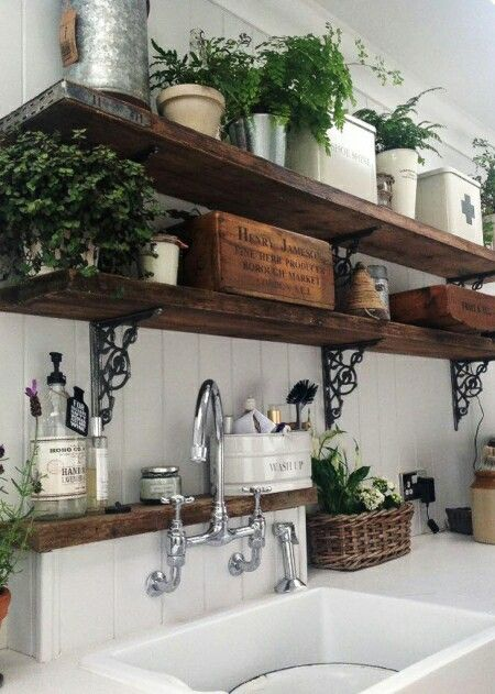 perfect deco for charming, rustic, functional; dry shelf ledge and brackets with faucet add distinctive style