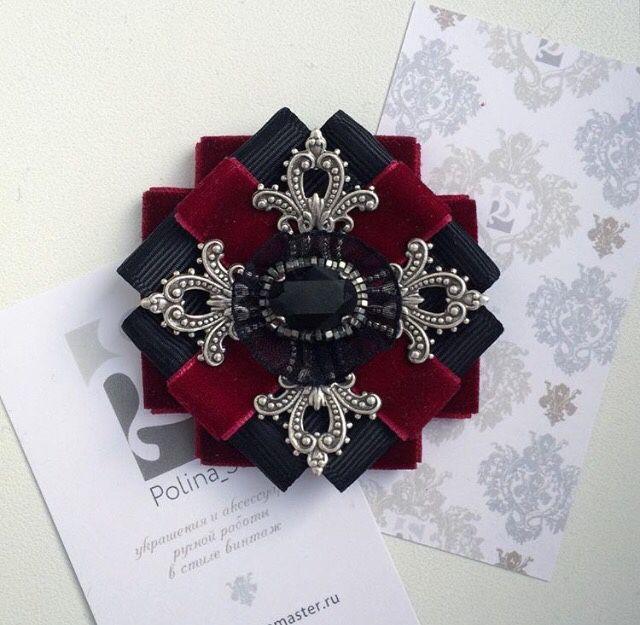 """Купить Брошь-орден """"Бордо"""" - бордовый, черный, Сваровски, swarovski crystal, кристаллы сваровски"""