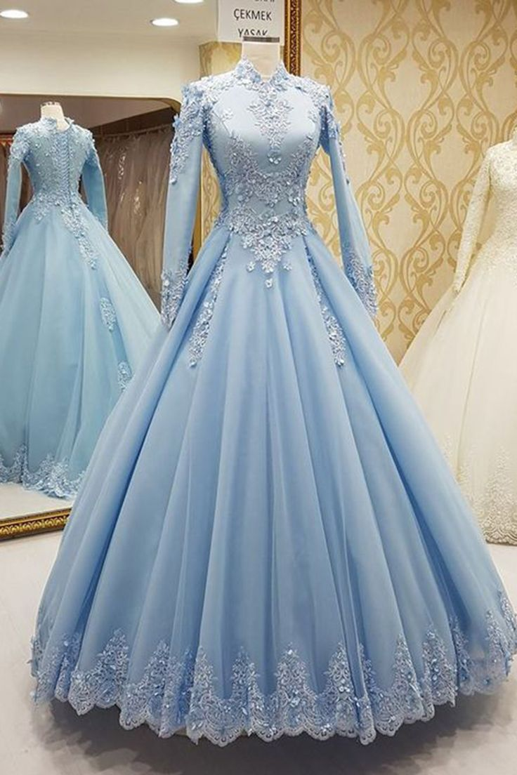 Blue tulle high neck customize formal evening dress with long