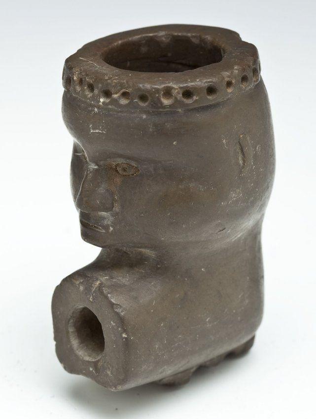 Native american steatite effigy pipe