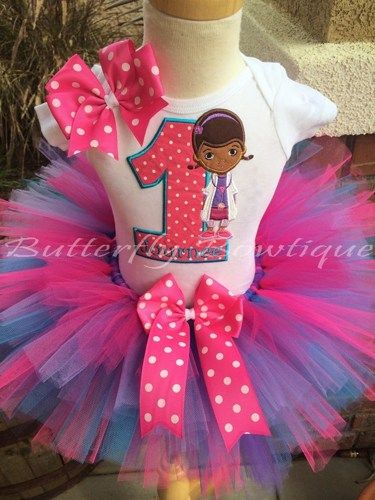The perfect outfit for your little one's special Doc McStuffins Birthday Bash!!!   Bow shown can come as a hair bow on alligator clip or on a headband. Please leave your request for headband or clip i