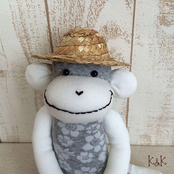 Aloha Sock Monkey Doll Boy 109  Floral Sock by KnKCraftsAndDesigns
