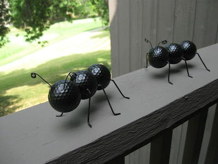 golfbal mieren en zwart geverfd