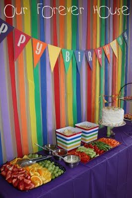Rainbow Party streamer backdrop