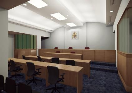 Still from Seamless Transitions (Special Immigration Appeals Court in the City of London) Production