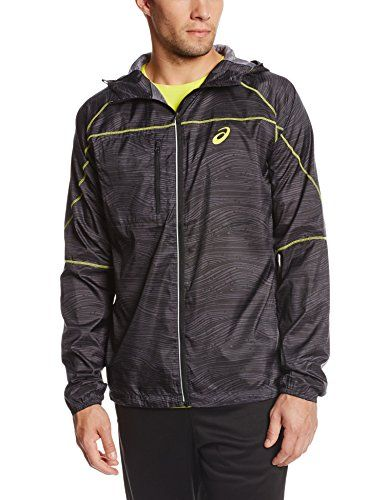 Asics Men's Fujitrail Packable Jacket, Black Wood Print, Large. Flatlock stitch construction enhances comfort. Thumbholes at sleeve cuff. Reflective elements for increased visibility. Jacket packs into bonded media pocket at chest. Lightweight, noiseless, woven ripstop fabric.