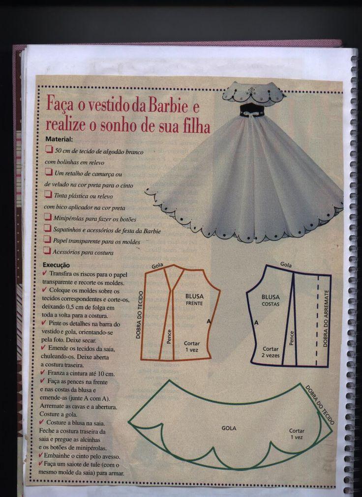 Free pattern: PAGE 1 OF 2 notasdivinais: VESTIDO DE BONECA (BARBIE)