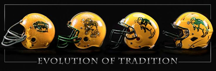 """Evolution of Tradition"" - North Dakota State University Bison Helmets - Print #NDSU"