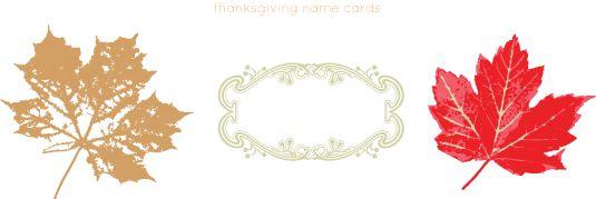 Thanksgiving name cards printable