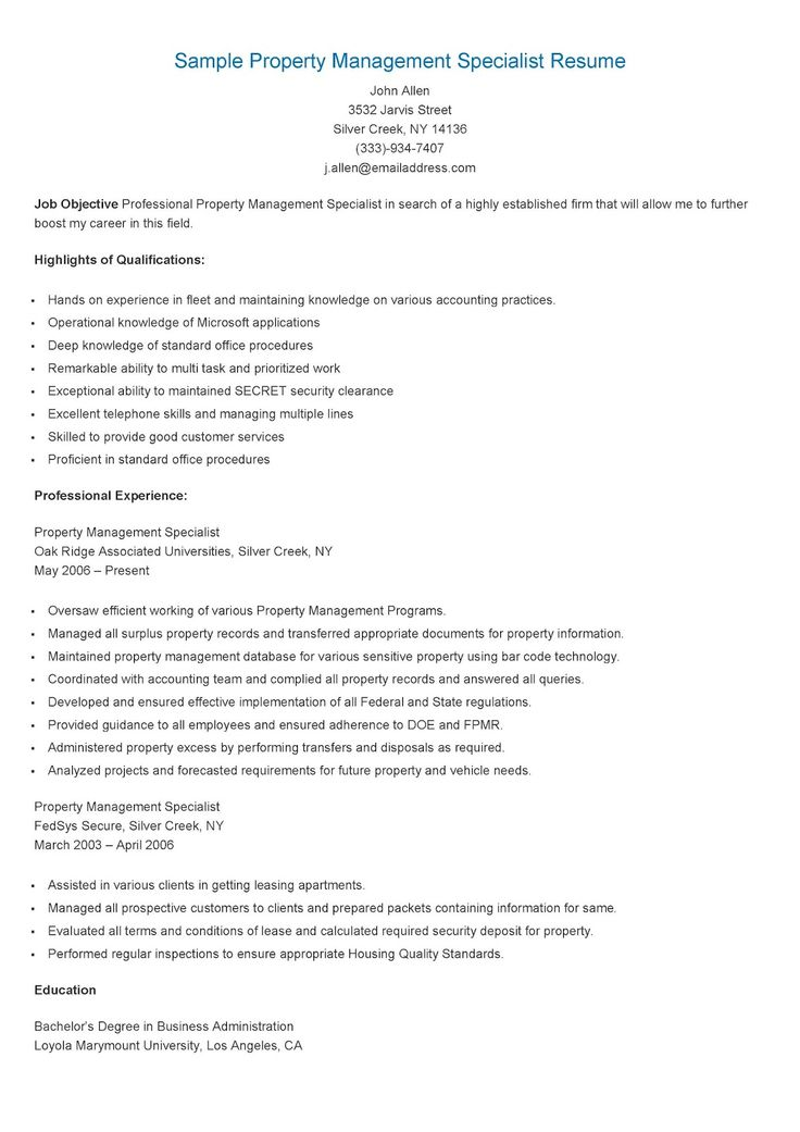 Sample Property Management Specialist Resume Resame