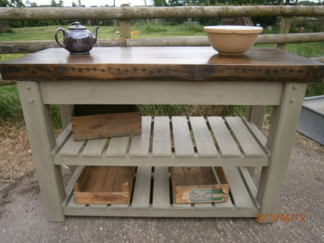 Country rustic dark pine bespoke kitchen island twin potcupboard butchers  block - Best 25+ Homemade Kitchen Island Ideas Only On Pinterest
