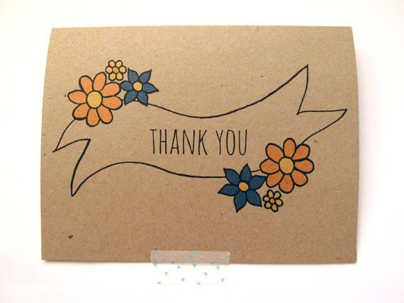 35 best drawing cards images on pinterest drawings cards and thank you floral banner recycled hand drawn thank you card ccuart Image collections