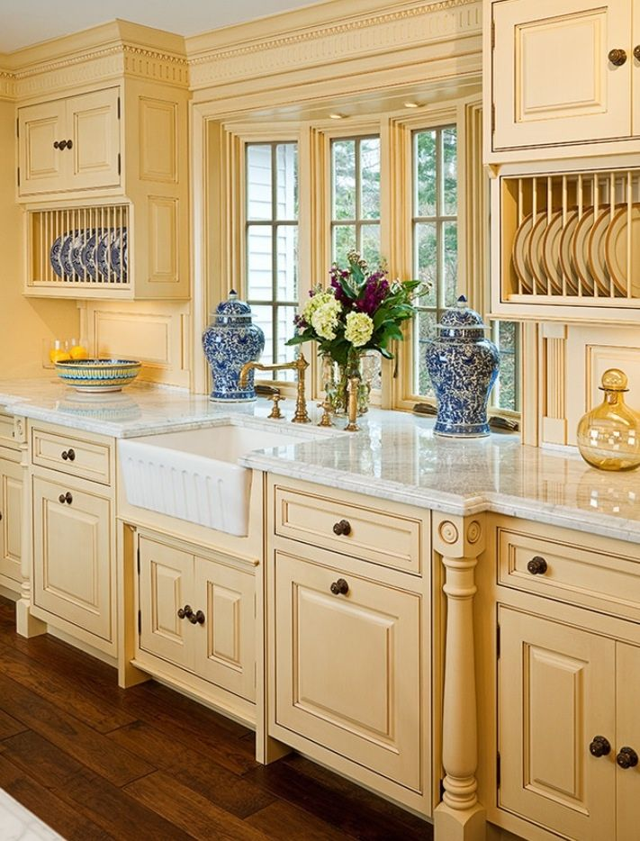 French Country inspired kitchen-love this idea for sink but I'd change it to vintage cast iron sinks-one with low basin & a draining board on the side, the 2nd is a high cast iron double sink that sink bowls are deep & has a high back