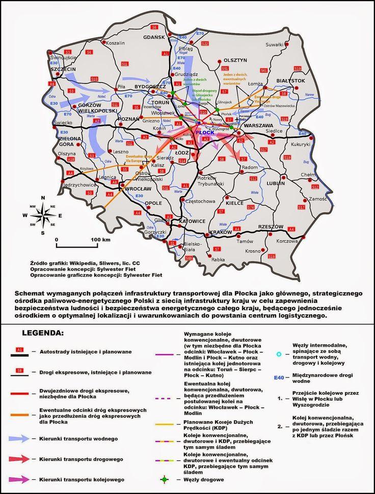 Mapa intermodalnego centrum logistycznego w rejonie Płocka – kluczowego ośrodka dla krajowego sektora paliwowo-energetycznego.