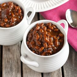 Boston Baked Beans - so much better than the canned version!  Tender beans in a rich sweet and tangy sauce.