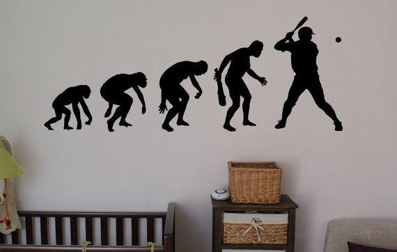 Stickers wall art wall decals home decor wall stickers decor nursery ideas sticker art print evolution baseball bat glove sport