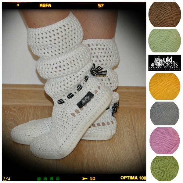 Crochet boots summer -65% cotton & 35% acri-white from Uki-Crafts by DaWanda.com