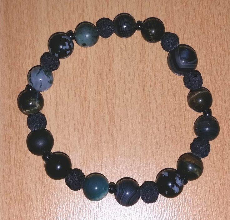 #Schmuck, #Armband, #Perlen, #Edelsteine, #schwarz, #dunkelgrün, #Lava, #Achat, #Falkenauge, #Heliotrop, #Onyx, #Moosachat, #Schneeflockenobsidian jewellery, joyas, bijoux, ювелирные изделия, biżuteria, gioielli, juwelen, koruja, smykker, 珠寶,bracelet, pulsera, браслет, bransoletka, bracciale, rannekoru, armbånd, 手鐲,pearls, perlas, perles, жемчуг, perły, perle, parels, helmet, perler, 珍珠,