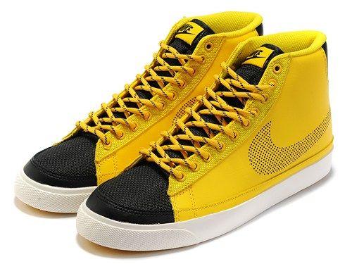 Cheap 371761-702 Nike Blazer MID yellow black men running shoes