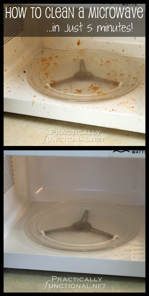 How to clean a microwave using only water, vinegar, and steam! It's easy to do, only takes about five minutes, and it works great!